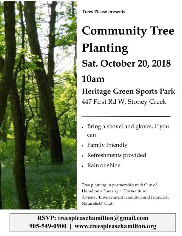 Sat Oct 20th, 2018 tree planting poster
